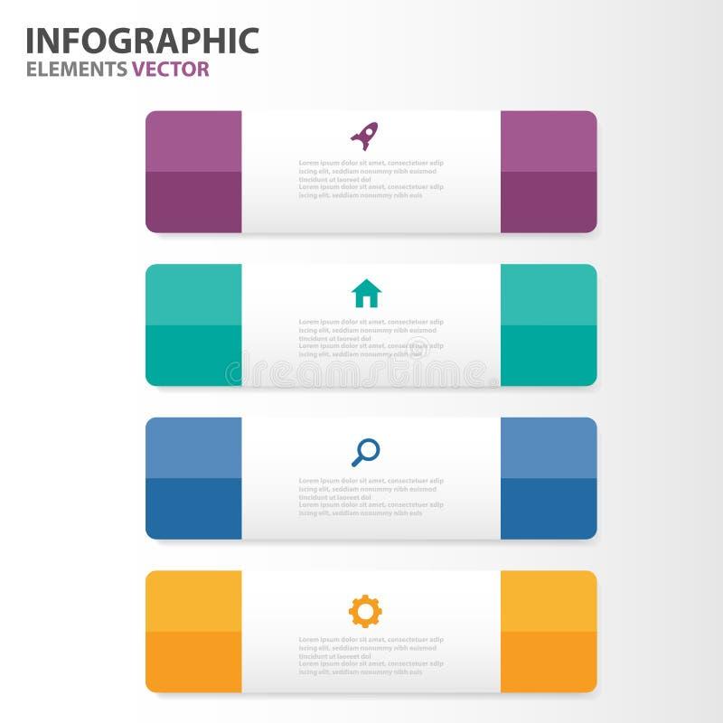 El diseño plano de Infographic de los elementos de las plantillas coloridas de la presentación fijó para el márketing del prospec ilustración del vector