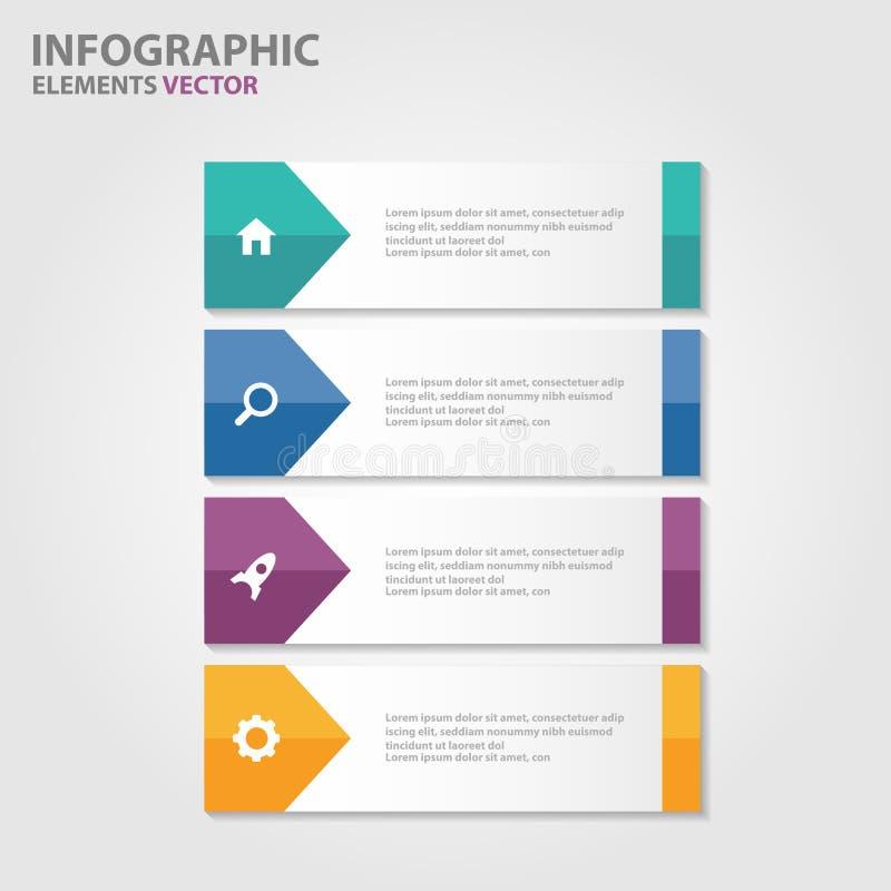 El diseño plano de Infographic de los elementos de las plantillas coloridas de la presentación fijó para el márketing del prospec stock de ilustración