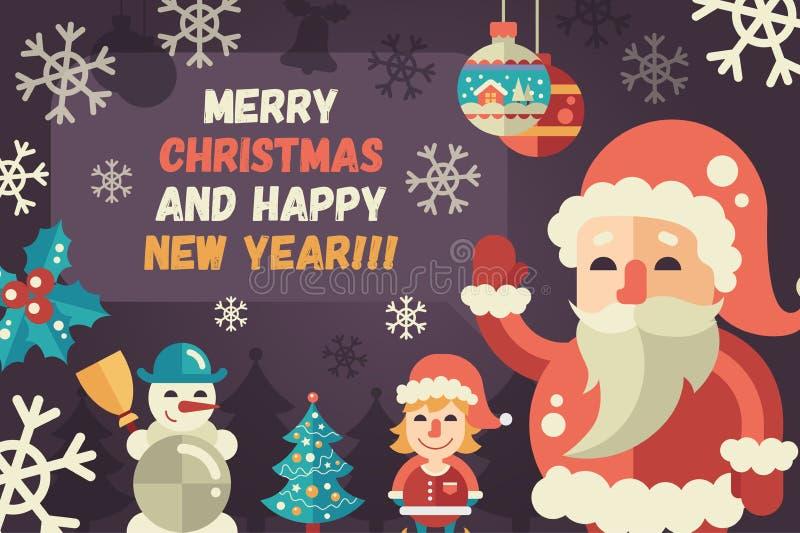 El diseño plano de la Feliz Navidad y de la Feliz Año Nuevo carda el illistration stock de ilustración