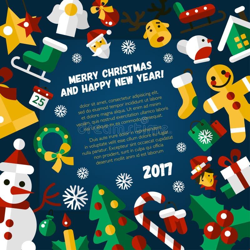 El diseño plano de la Feliz Navidad y de la Feliz Año Nuevo carda el illistration libre illustration