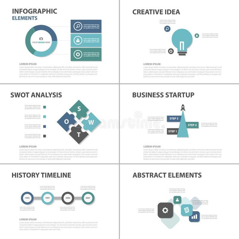 El diseño plano de la plantilla de la presentación de los elementos de Infographic del negocio del verde azul fijó para el márket stock de ilustración