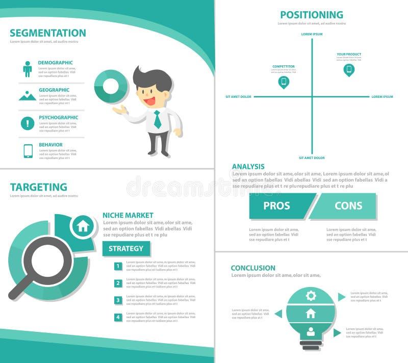 El diseño plano de la plantilla de la presentación del icono de los elementos de Infographic del hombre de negocios del márketing ilustración del vector