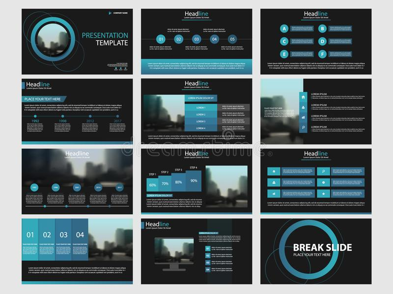 El diseño plano de la plantilla de los elementos de Infographic fijó para el informe anual ilustración del vector