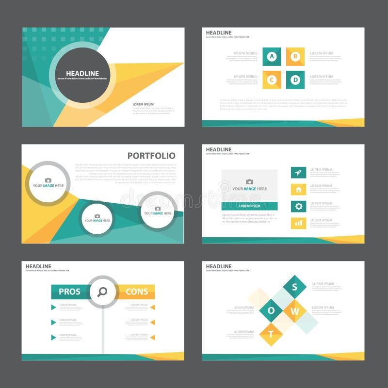 El diseño plano de la presentación de la plantilla de los elementos abstractos verdes anaranjados de Infographic fijó para el már libre illustration