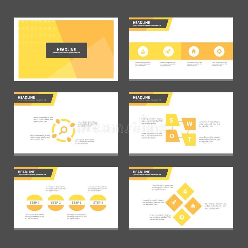 El diseño plano de la presentación de la plantilla de los elementos anaranjados abstractos de Infographic fijó para el márketing  libre illustration