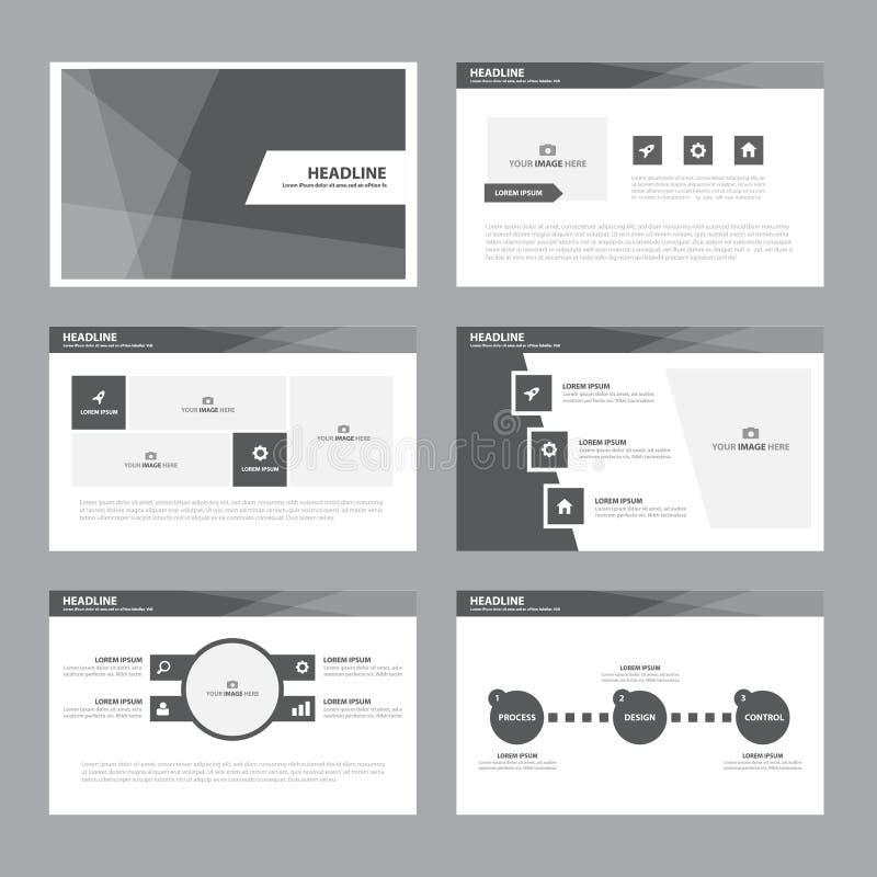 El diseño plano de la presentación de la plantilla de los elementos blancos negros de Infographic fijó para el márketing del pros stock de ilustración