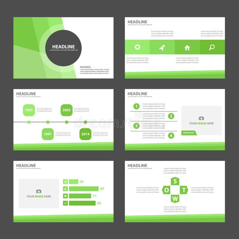 El diseño plano de la presentación de la plantilla de los elementos verdes de Infographic fijó para el márketing del prospecto de libre illustration