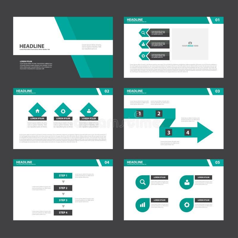 El diseño plano de la presentación de las plantillas de los elementos verdes negros de Infographic fijó para el márketing del pro ilustración del vector