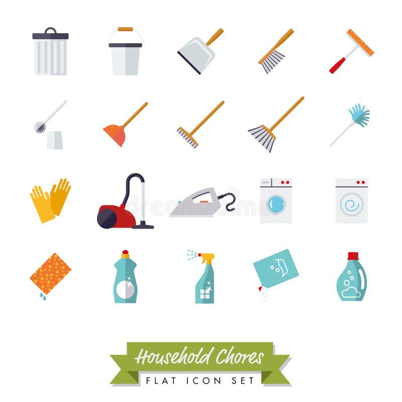 El diseño plano de las tareas de hogar aisló el sistema del icono ilustración del vector