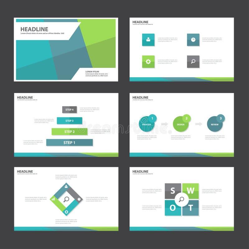 El diseño plano de los elementos de Infographic de la plantilla de la presentación del extracto del verde azul fijó para el márke libre illustration