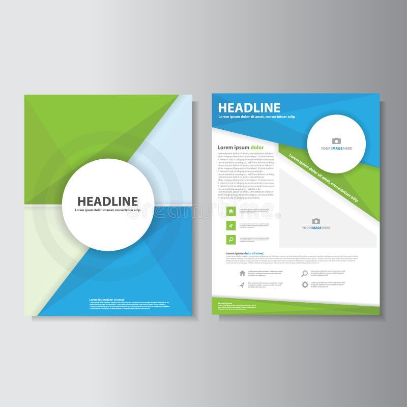 El diseño plano del folleto del aviador del prospecto de Infographic de las plantillas azulverdes de la presentación fijó para co libre illustration