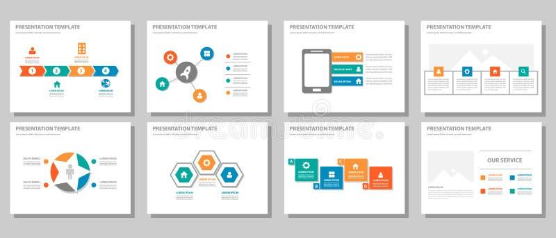 El diseño plano infographic multiusos anaranjado azulverde rojo de la presentación y del elemento fijó 2 stock de ilustración