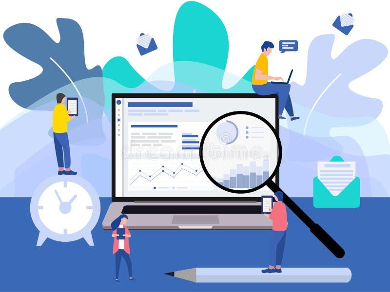 El diseño plano moderno con un grupo de hombres de negocios miniatura analiza datos juntos Caracteres minúsculos de la gente libre illustration