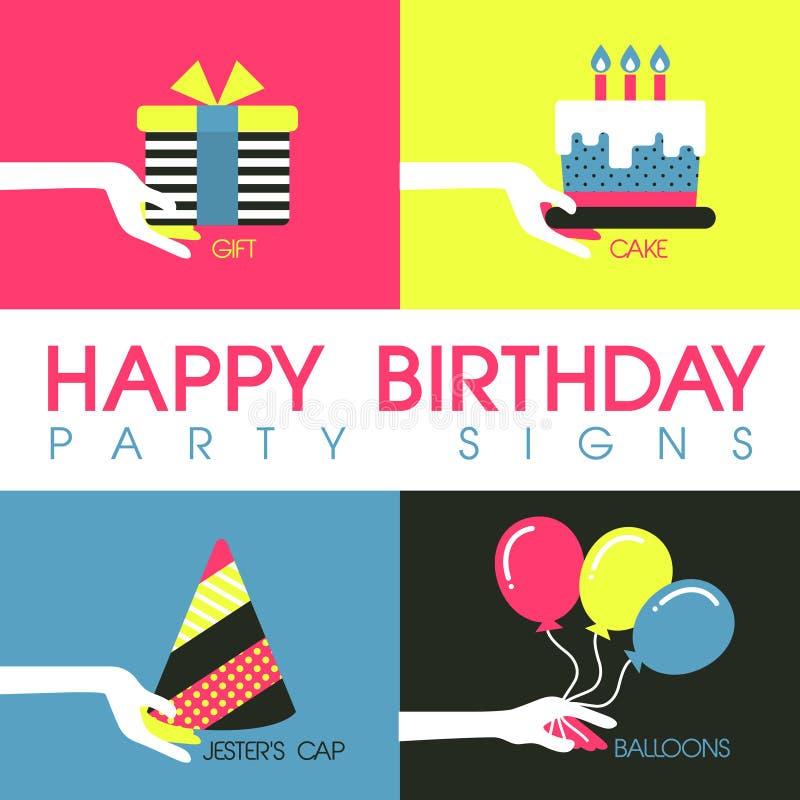 El diseño plano para la fiesta de cumpleaños firma concepto stock de ilustración