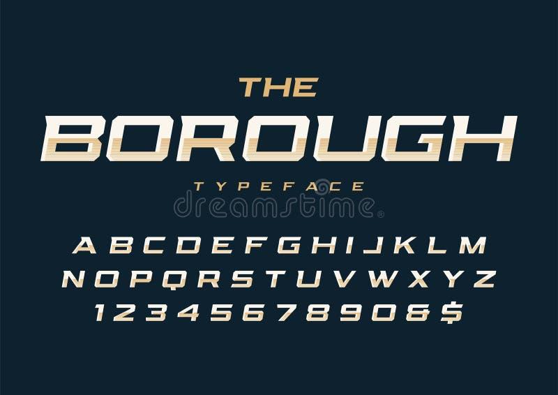 El diseño retro de moda de la fuente de la exhibición de la ciudad, alfabeto, tipografía ilustración del vector