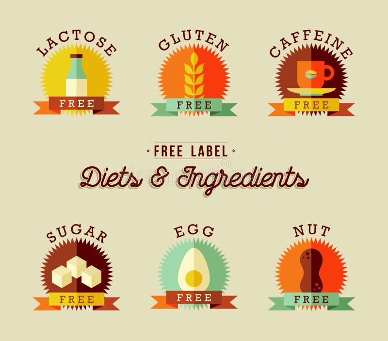 El diseño sano de la etiqueta de la comida fijó en estilo plano libre illustration