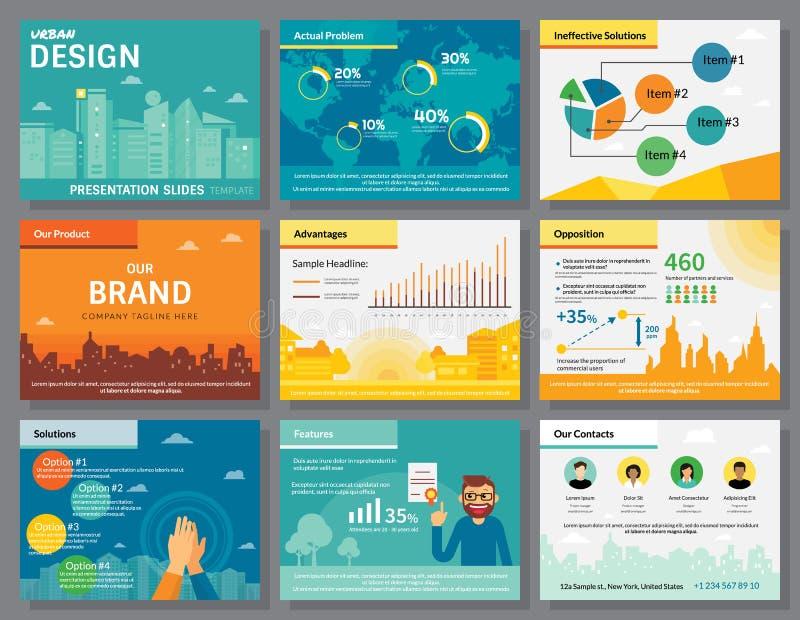 El diseño urbano de presentación del infographics desliza la plantilla libre illustration