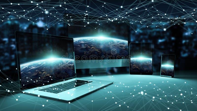El dispositivo digital moderno de la tecnología conectó el uno al otro la representación 3D stock de ilustración