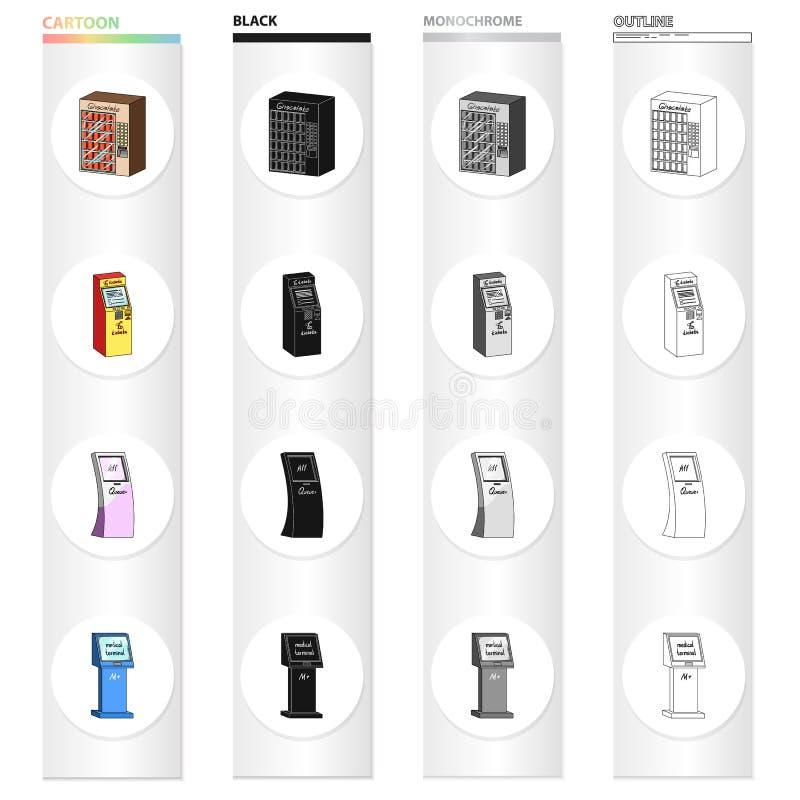 El dispositivo para el paso, la máquina de medicinas, el terminal del boleto, la máquina automática del chocolate diferente stock de ilustración