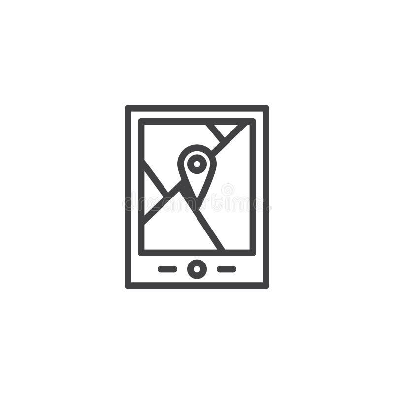 El dispositivo y la ciudad de la navegación de los Gps trazan con el icono del esquema del perno libre illustration