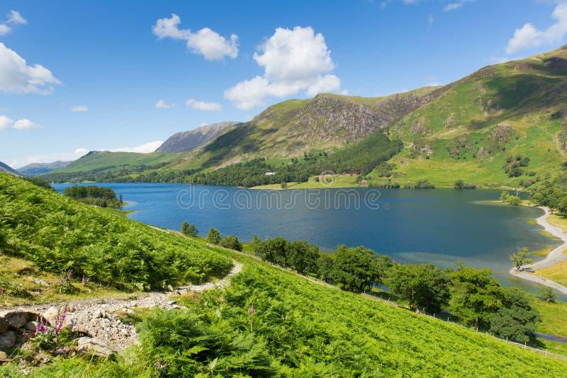 El distrito BRITÁNICO Buttermere Cumbria Inglaterra Reino Unido del lago en un día de verano soleado hermoso rodeada cerca derrib imagen de archivo libre de regalías