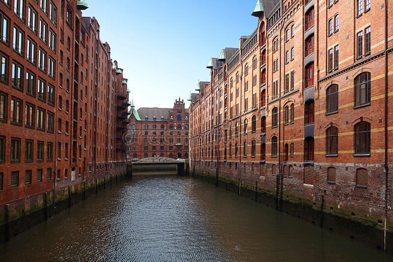 El distrito del almacén de Hamburgo foto de archivo