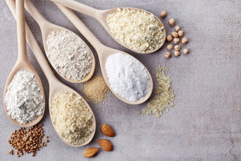 El diverso gluten libera la harina foto de archivo libre de regalías