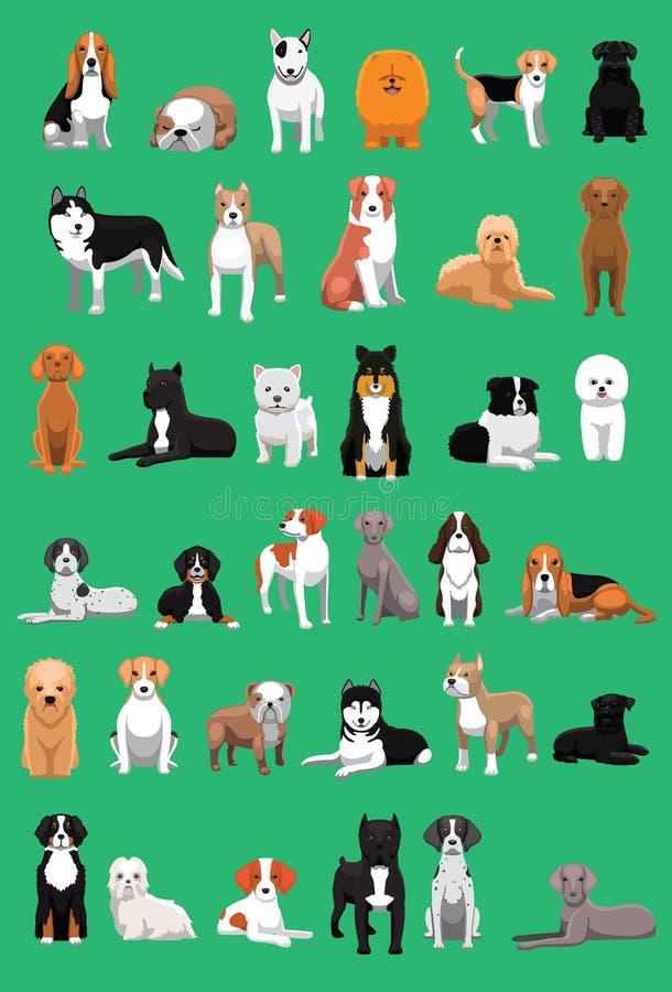 El diverso perro de la talla media cría el ejemplo del vector de la historieta ilustración del vector