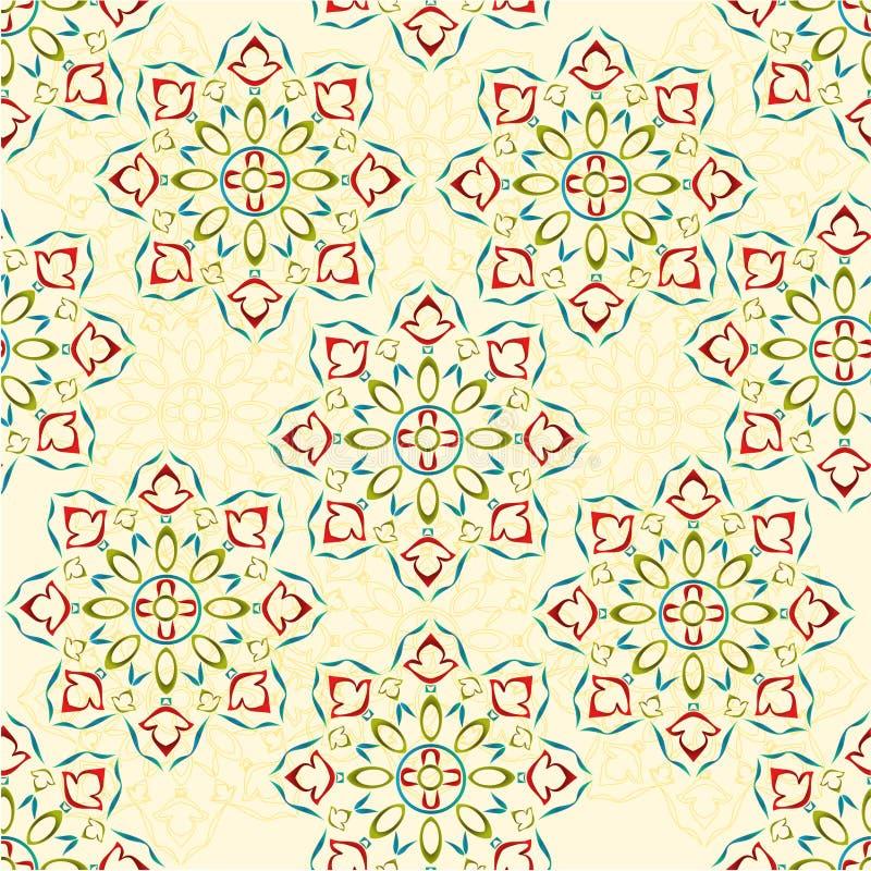 El diversos esquema y siluete del color de la textura del estampado de flores ornamental decorativo inconsútil del rosetón vector ilustración del vector