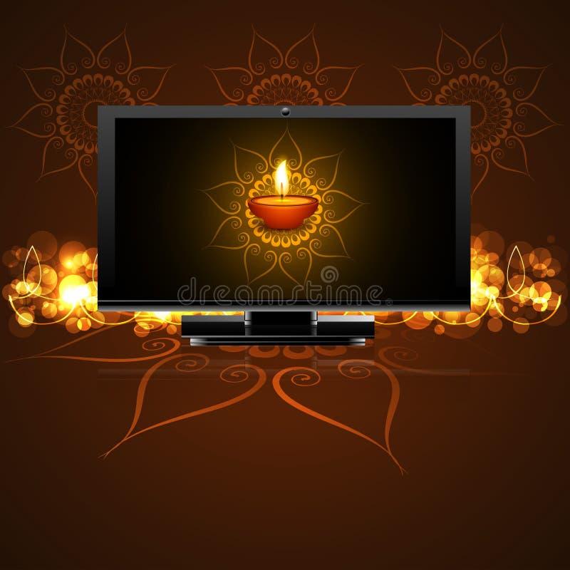 El diwali feliz hermoso llevó el fondo de la celebración de la pantalla de la TV libre illustration