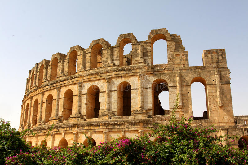 El Djem amphitheater royalty free stock photography