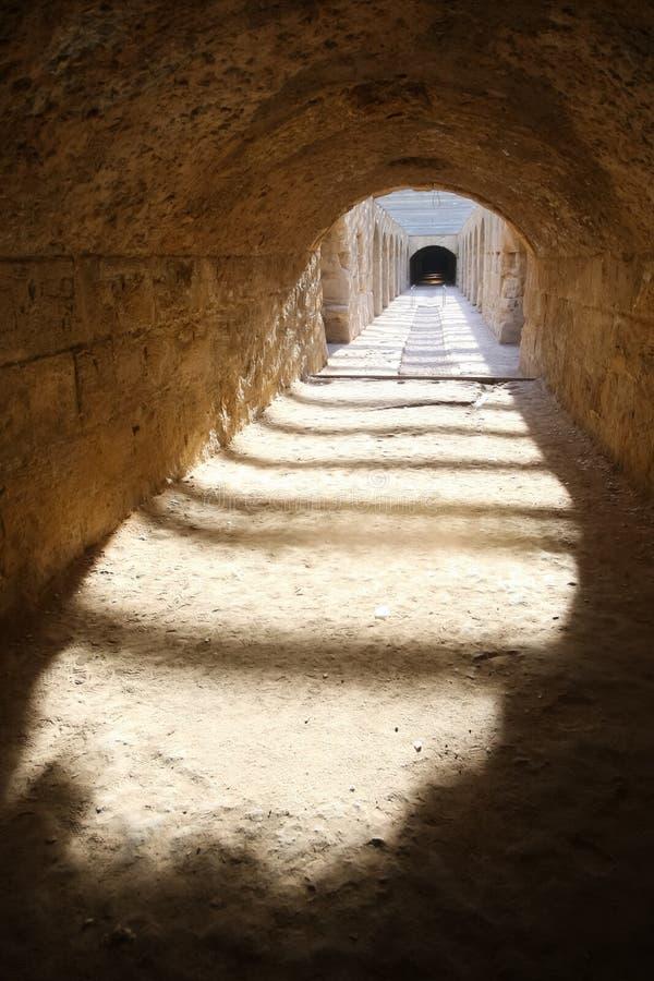 El Djem Amphitheatre, undercroft. Undercroft of roman biggest amphitheater in africa in El Djam, Tunisia stock photography