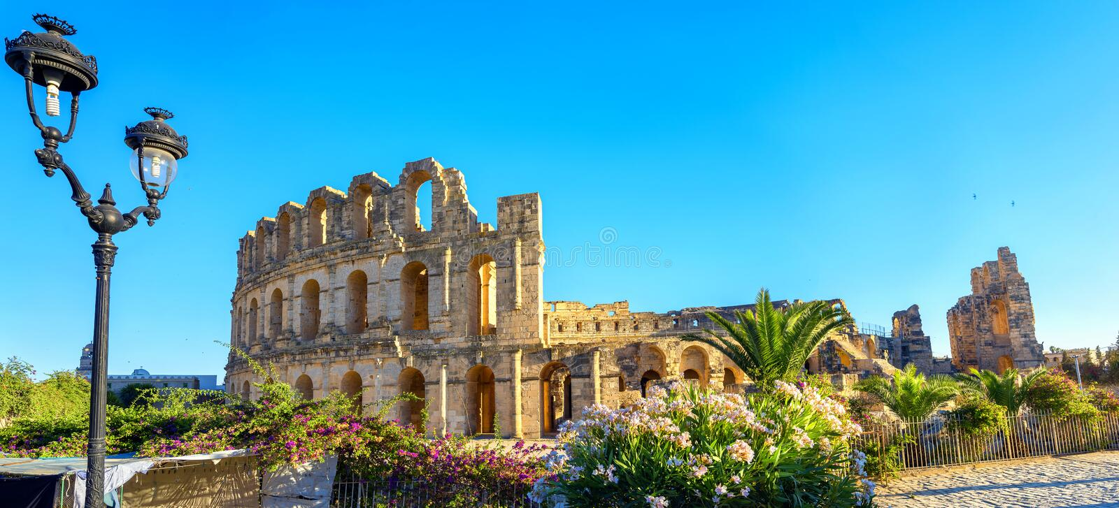 El Djem Colosseum amphitheater. Tunisia, North Africa. Panoramic view of ancient roman amphitheater in El Djem. Mahdia governorate, Tunisia, North Africa royalty free stock photography