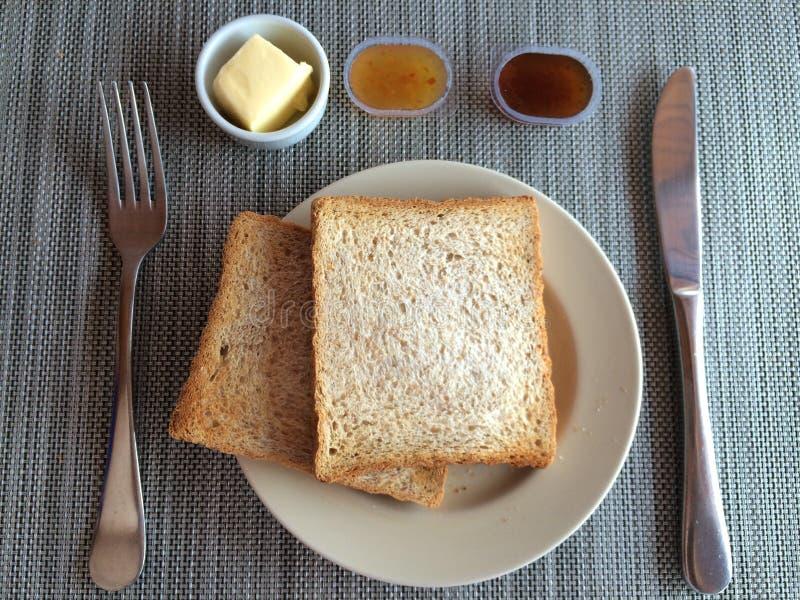 El doble tostó los panes para el desayuno fotografía de archivo