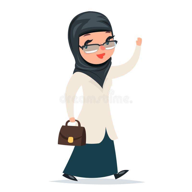 El doctor árabe lindo de la muchacha femenina casera del tratamiento del paseo con el caso saluda al médico aislado carácter Retr ilustración del vector