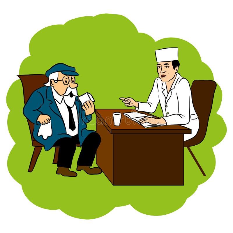 El doctor aconseja la curación de abuelo para la enfermedad, ejemplo del garabato de la historieta del vector ilustración del vector