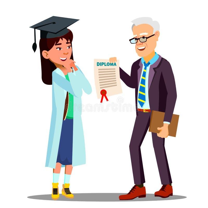 El doctor asiático Receiving A Diploma Vector del estudiante de la chica joven Ejemplo aislado de la historieta stock de ilustración