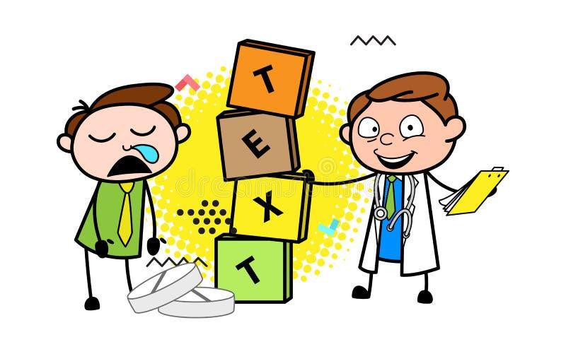 El doctor de la historieta con la bandera encajona el ejemplo del vector stock de ilustración