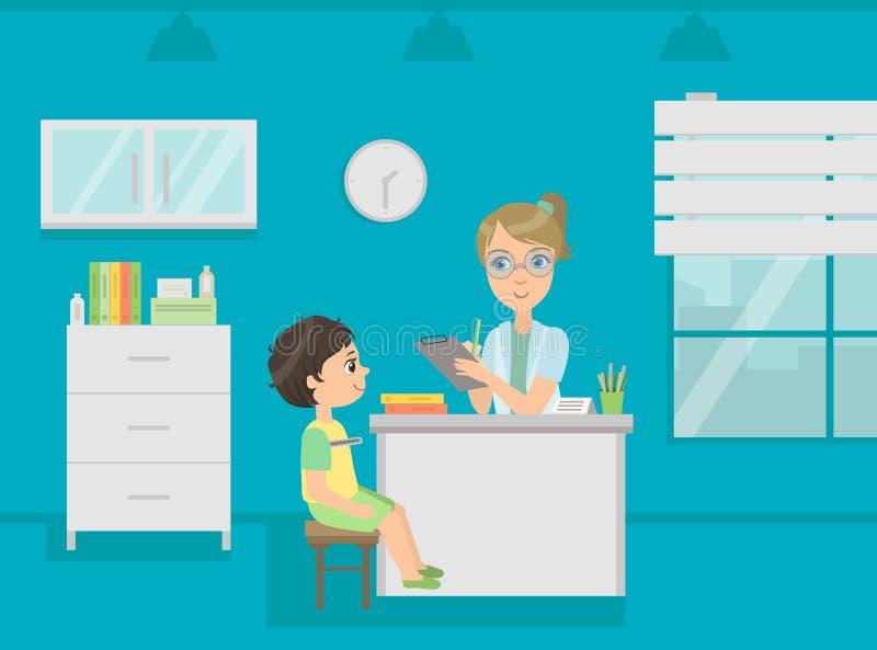 El doctor de sexo femenino Consulting Boy Patient del pediatra en el ejemplo médico del vector de la oficina ilustración del vector