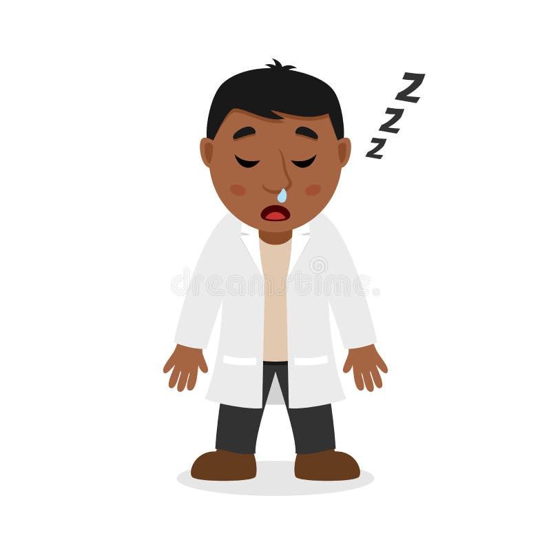 El doctor de sexo masculino negro durmiente Character stock de ilustración