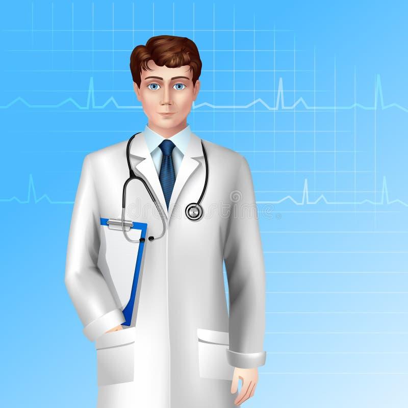 El doctor de sexo masculino Poster stock de ilustración