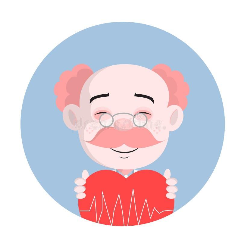 El doctor divertido Laughing Face con vector del corazón stock de ilustración