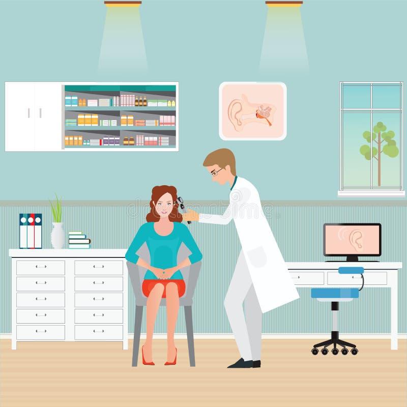 El doctor Examining Patient Ear con el otoscopio stock de ilustración