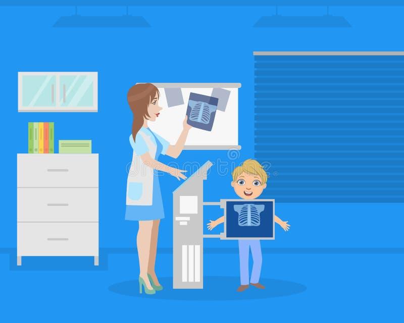 El doctor Examining Patients Chest usando la máquina del rayo de X para la diagnosis, radiólogo Consulting Boy en vector médico d ilustración del vector