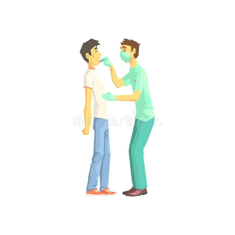 El doctor Examining Patients Throat ilustración del vector