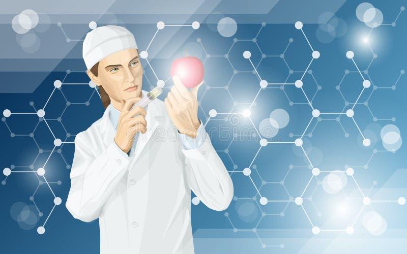 El doctor hace la modificación del gmo a una manzana ilustración del vector