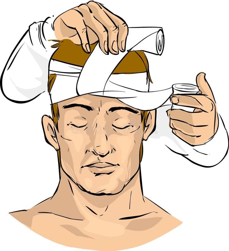 El doctor hace un vendaje ilustración del vector