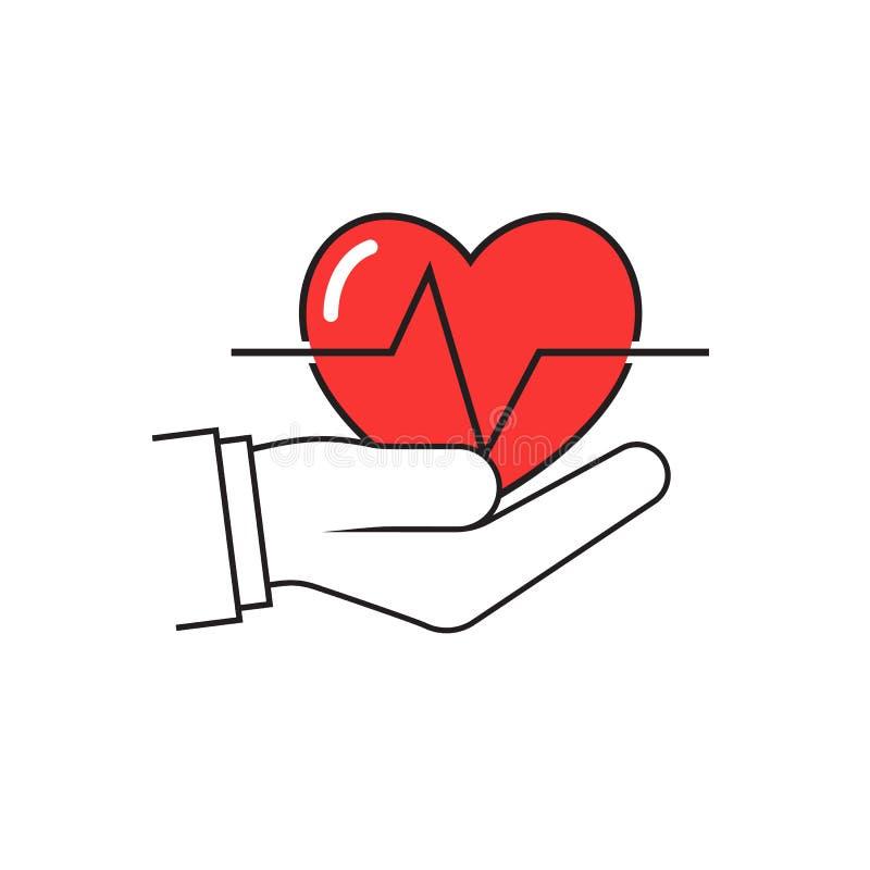 El doctor Holding Red Heart disponible ilustración del vector