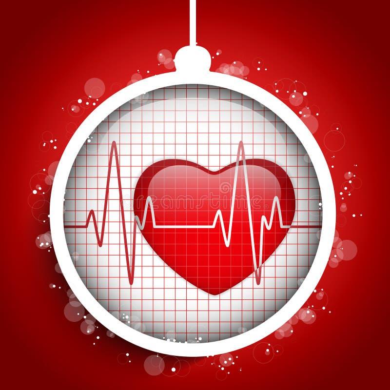 El doctor Hospital Heart Ball de Feliz Navidad ilustración del vector