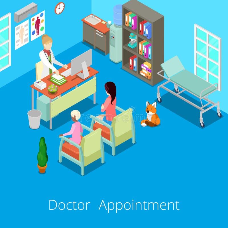 El doctor interior Appointment del gabinete médico isométrico con el paciente ilustración del vector